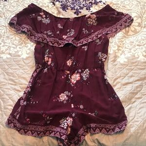 Maroon and Floral Romper